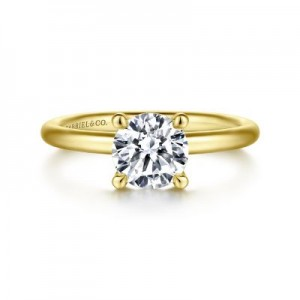 14 Karat Yellow Gold Solitaire Ring Size 6.5