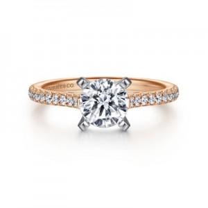 14 Karat Rose/White  Semi-Mount Ring Size 6.5 With 0.23Tw Round G/H Si1-2 Diamonds Center Size: 6.5MM