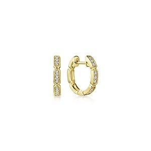 Gabriel & Co: 14 Karat Yellow Gold Segmented 10mm Diamond Huggie Earrings With 18=0.12Tw Round Si1-2 Diamonds