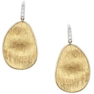 Marco Bicego: 18 Karat Yellow Gold Lunaria Drop Earrings With 0.05Tw Round Diamonds