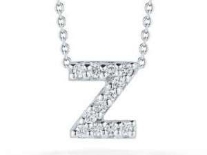 Roberto Coin: 18 Karat What Gold Love Letter Z Pendant With 12=0.06Tw Round Diamonds Length: 18