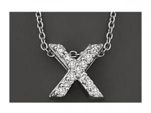 Roberto Coin: 18 Karat White Gold Love Letter X Pendant With 13=0.06Tw Round Diamonds Length: 18