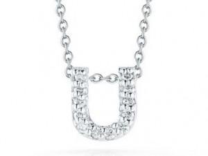 Roberto Coin: 18 Karat White Gold Love Letter U Pendant With 12=0.06Tw Round Diamonds Length: 18
