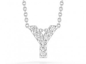 Roberto Coin: 18 Karat White Gold Love Letter Y Pendant With 9=0.04Tw Round Diamonds Length: 18