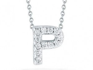 Roberto Coin: 18 Karat White Gold Love Letter P Pendant With 12=0.05Tw Round Diamonds Length: 18