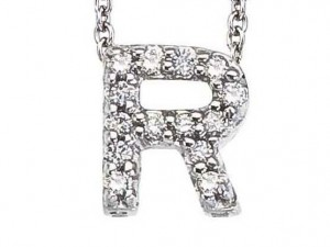 Roberto Coin: 18 Karat White Gold Love Letter  R Pendant With 14=0.06Tw Round G/H Si1 Diamonds  Length: 16