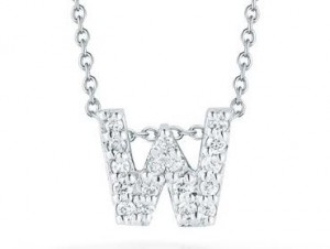 Roberto Coin: 18 Karat White Gold Love Letter W Pendant With 17=0.08Tw Round Diamonds Length: 18