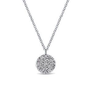Gabriel & Co: 14 Karat White Gold Pave Pendant With 0.10Tw Round SI1-2 Diamonds Length: 17.5