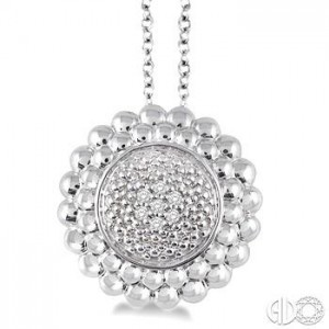 Sterling Silver Pendant With 0.03Tw Single Cut Diamonds 18