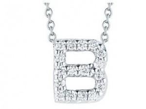 Roberto Coin: 18 Karat White Gold Love Letter B Pendant With 18=0.06Tw Round G/H Si1 Diamonds Length: 16