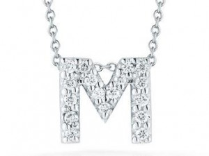 Roberto Coin: 18 Karat  White Gold Love Letter M Pendant With 17=0.08Tw Round Diamonds Length: 18