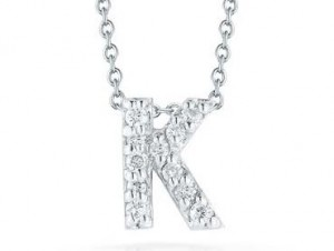 Roberto Coin: 18 Karat White Gold  Love Letter Initial K Pendant With 0.06Tw Round Diamonds Length: 18