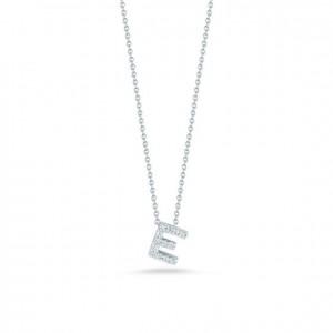 Roberto Coin: 18 Karat White Gold  Love Letter Initial E  Pendant With 13=0.06Tw Round Diamonds   Length: 18