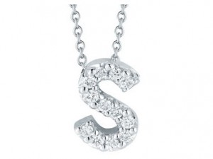 Roberto Coin: 18 Karat White Gold Love Letter S Initial  Pendant With 13=0.05Tw Round Diamonds Length: 18