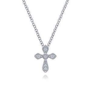 Gabriel & Co: 14 Karat White Gold Diamond Cross Pendant 0.05 ct 17.5 inch