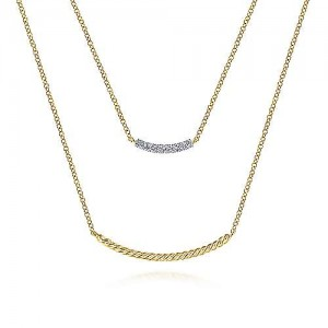 Gabrei l& Co: 14K Yellow Gold Two Strand Twisted And Diamond Bar 0.07CTw Necklace 17.5