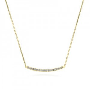 Gabriel & Co: 14 Karat Yellow Gold Diamond Pave' Curved Bar Necklace With 19=0.20Tw Round G/H SI1-2 18 Inch Adjustable