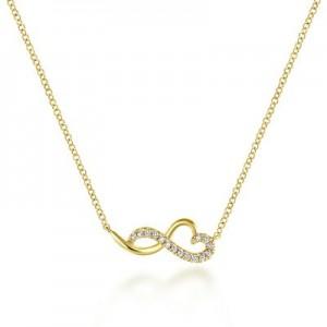 Gabriel & Co:14 Karat Yellow Gold Infinity Heart Diamond Necklace With 0.08Tw