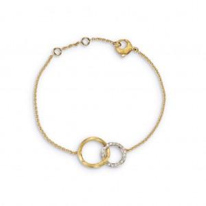Marco Bicego: Yellow/White 18 Karat Jaipur Link Bracelet With 0.14Tw Round F/G Vs Diamonds