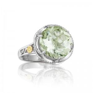 Tacori: 18K/925: Two-Tone Sterling Silver & 18Ky Fi Fashion Ring With One 7.50Ct Round Prasiolite Name: Seafoam Mint - Prasiolite Ring Size: 7