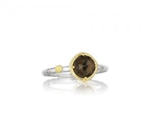 Tacori: Two-Tone Sterling Silver & 18Ky Fashion Ring With One 7.00Mm Round Smokey Quartz Name: Midnight Sun - Smokey Quartz