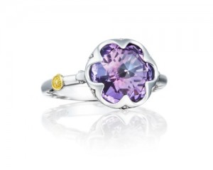 Tacori: 18K/925: White Sterling Silver Fashion Ring With One 3.34Ct Rose Cut Amethyst Name: Sonoma Skies- Amethyst