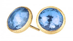 Marco Bicego:18 Karat Yellow Gold Jaipur Stud Earrings With 2=7.50mm Rose Cut Blue Topazs