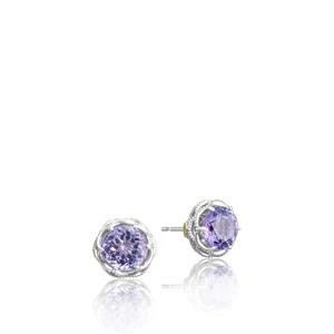 Tacori:  Sterling Silver Filigree Stud Earrings With 2=3.75Tw Round Amethysts Style Name: Lilac Blossoms