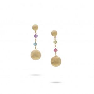 Marco Bicego: 18 Karat Yellow Gold Africa Gemstone Dangle Earrings