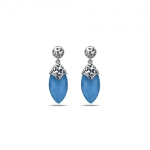 Charles Krypell: Sterling Silver Skye Drop Earrings With 2=21.00X11.00mm Marquise White Quartz Over Turquoises