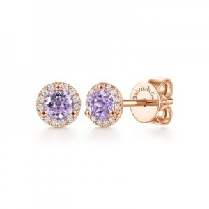 Gabriel & Co:14 Karat Rose Gold Stud Earrings With 2=0.45Tw Round Pink Amethysts And 24=0.08Tw  Diamonds