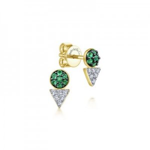 Gabriel & Co:14 Karat Yellow Gold 14 Karat Triangle And Round Stud Earrings With 14=0.13Tw Round Emeralds And 12=0.09Tw Diamonds