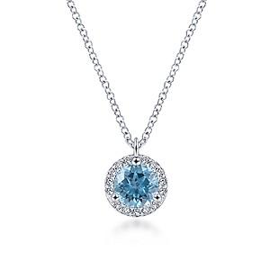 Gabriel & Co: 14 Karat White Gold Round Blue Topaz And Diamond Halo Pendant Necklace Length: 18 Adjustable