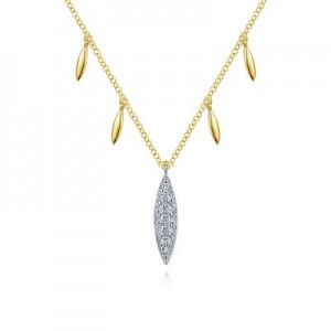 Gabriel & Co: 14 Karat Yellow And White Gold Pave 0.06 ct Diamond Marquise Drop Necklace 17.5 Inch