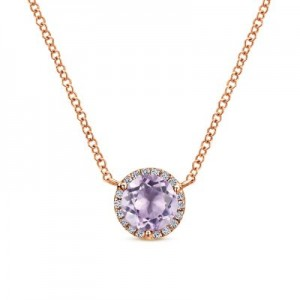 Gabriel & Co:14 Karat Rose Gold Halo Necklace With One 0.72Ct Round Pink Amethyst And 0.06Tw Diamonds