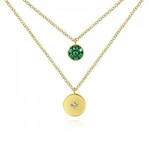 Gabriel & Co:14 Karat Yellow Gold Disc Necklace With pAVE 7=0.19Tw Round Emeralds And One 0.02Ct Round Diamond