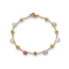 Marco Bicego: 18 Karat Yellow Gold Paradise Single Strand Bracelet With Multi-Color Gemstone Briolettes