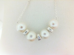 Sterling Silver 6-6.5 mm Freshwater pearls with sterling rondels on 17