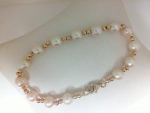 Yellow Gold 14 Karat gold bead & pearl 6 inch  Bracelet
