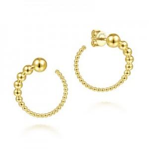 Gabriel & Co:14 Karat Yellow Gold Graduating Ball Post Hoop Earring 20MM