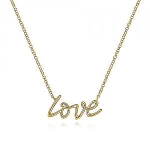 Gabriel& Co 14 Karat Yellow Gold Love Necklace 17.5