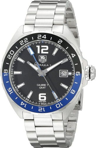 Tag Heuer: Stainless Steel 41mm Formula 1 Automatic Watch Clasp: Deployment Finish: Satin Dial Color: Black Dial Bezel: Black/Blue Bezel