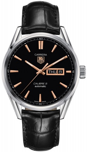 Tag Heuer: Stainless Steel 41mm Carrera Calibre 5 Automatic Watch Name of Bracelet: Black Alligator Clasp: Deployment Finish: Polished Dial Color: Black Dial/Rose Markers