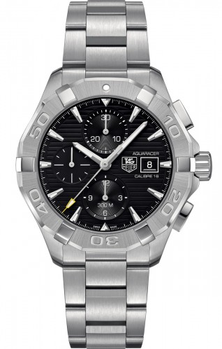 Tag Heuer: Stainless Steel 43mm Aquaracer  Automatic Chronograph Watch Clasp: Deployment Finish: Satin Dial Color: Black Dial