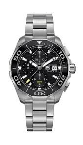 Tag Heuer: Stainless Steel 43mm Aquaracer Automatic Chronograph Watch Clasp: Deployment Finish: Satin and Polish Dial Color: Black Dial