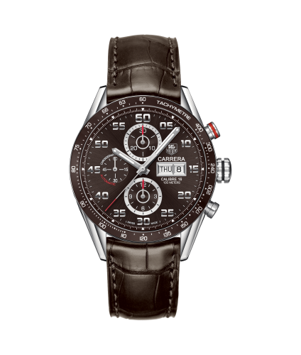Tag Heuer: Stainless Steel 43mm Carrera  Automatic Chronograph Watch Name Of Bracelet: Brown Aligator Clasp: Deployment Buckle Finish: Polished Dial Color: Brown