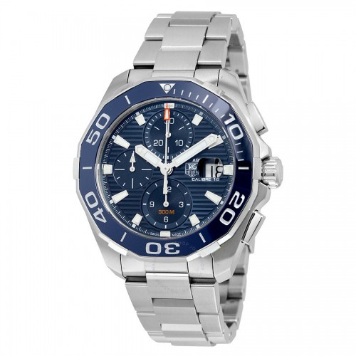 Tag Heuer: Stainless Steel 43mm Aquaracer Automatic Chronograph Watch Name: Calibre 16 Clasp: Deployment Finish: Satin Dial Color: Blue Dial Bezel: Blue Ceramic Bezel