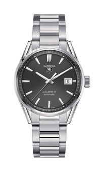 Tag Heuer: Stainless Steel 41mm Carrera Automatic Watch Name: Calibre 5 Clasp: Deployment Finish: Satin and Polish Dial Color: Anthracite