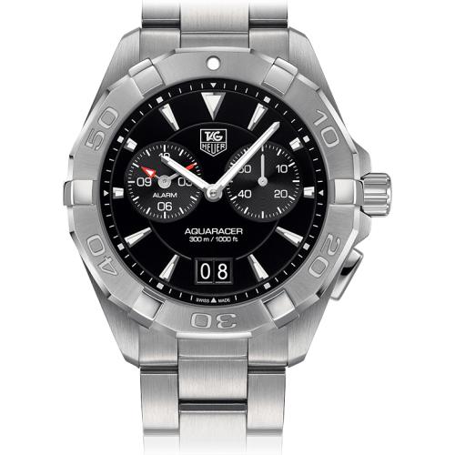 Tag Heuer: Men's Stainless Steel 40.5mm  Aquaracer Quartz Chronograph Watch Alarm Clasp: Deployment Finish: Satin Dial Color: Black Dial