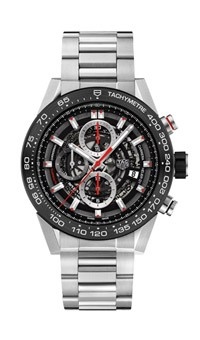 Tag Heuer: Stainless Steel 45mm Carrera Automatic Chronograph Watch Clasp: Deployment Finish: Satin Dial Color: Black Skeleton Dial